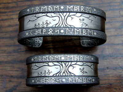Patternwelded Steel and Silver Bracelets
