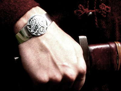 Silver Pictish Boar Bracelet