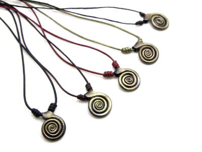 Hand forged iron spiral pendants